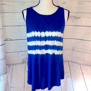 Old Navy blue & white tie dyed sleeveless blouse
